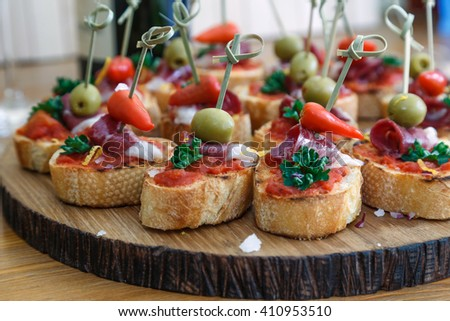 delicious looking side dishes, appetizer food or tapas. - stock photo