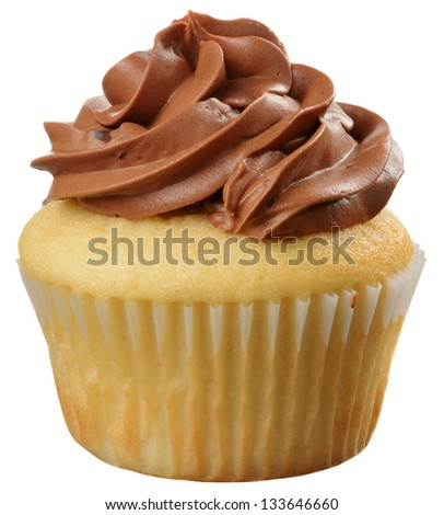 Delicious Marble Cupcake with Chocolate Swirled Frosting Isolated - stock photo