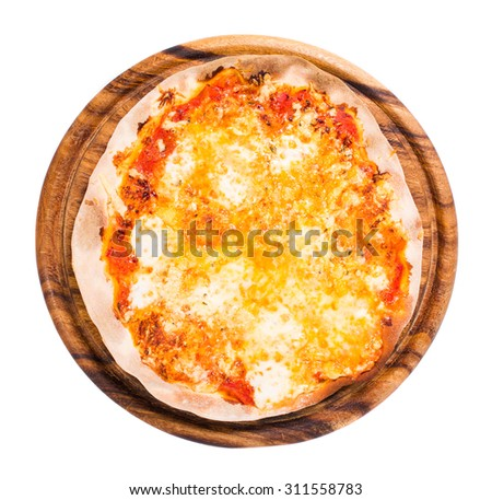 Delicious margarita pizza with parmesan and mozzarella on wooden platter. Isolated on a white background.