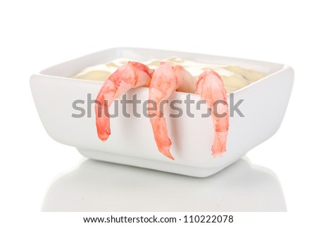 Delicious marinated shrimp with sauce isolated on white