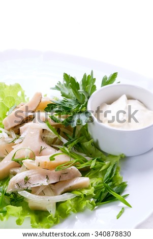 Delicious meal in a restaurant with a gentle squid and sauce on white dish. - stock photo