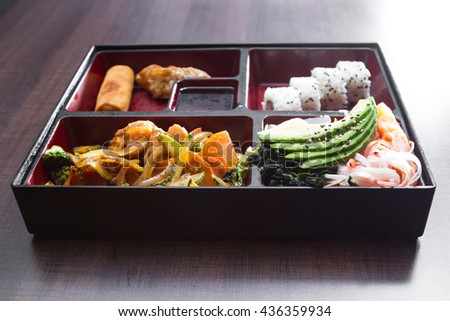 delicious meal prepared and presented restaurant style with fresh ingredients pre served as a on the go lunch choice - stock photo