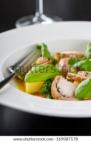 delicious meat with fresh basil - stock photo