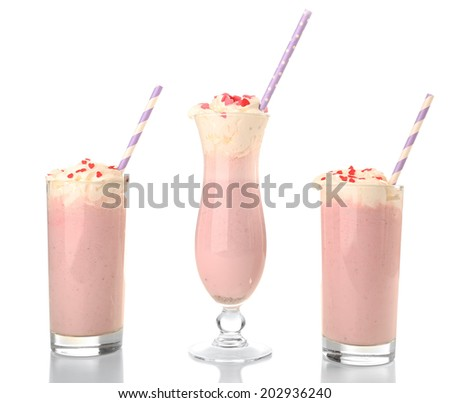 Delicious milkshake isolated on white - stock photo