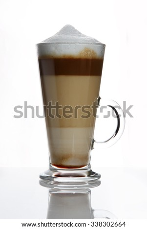 delicious mix coffee cocktail on white background. unusual long coffee drink.  - stock photo