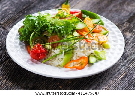 Delicious mix crispy salad with rice
