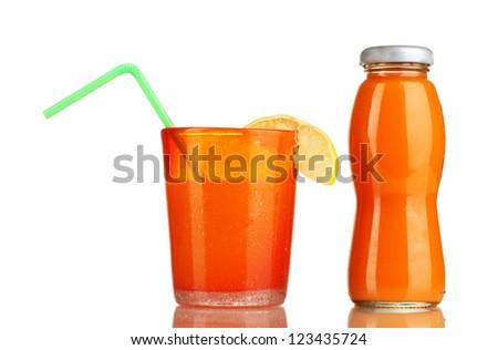 Delicious multifruit juice isolated on white - stock photo
