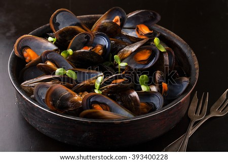 Delicious mussels with fresh herbs in a pot on a dark background - stock photo