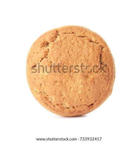 Delicious oatmeal cookie on white background