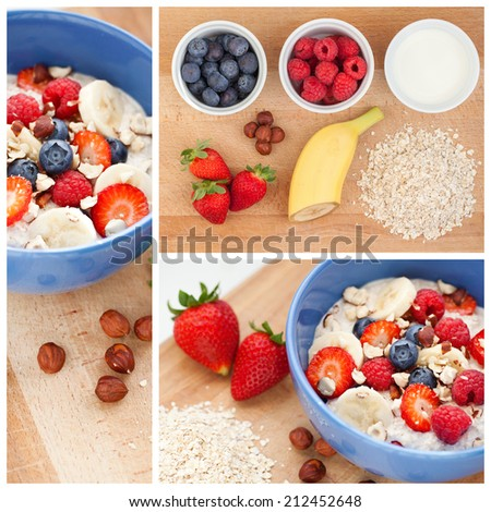 delicious oatmeal with fresh fruit - stock photo