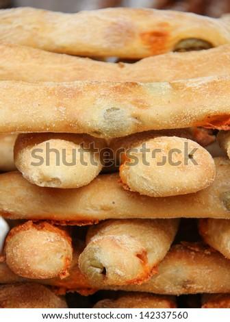 Delicious olive bread, Borough market, London England - stock photo