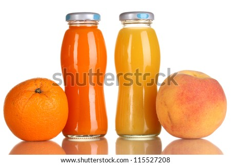 Delicious orange and peach juice in bottle and orange and peach next to it isolated on white - stock photo