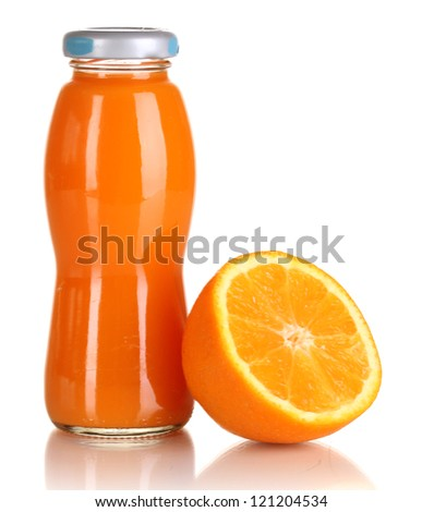 Delicious orange juice in a bottle and orange next to it isolated on white - stock photo