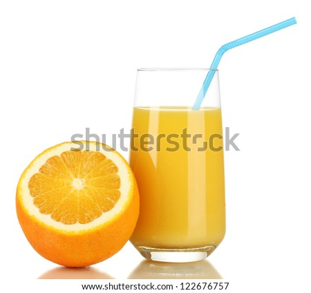 Delicious orange juice in glass and orange next to it isolated on white