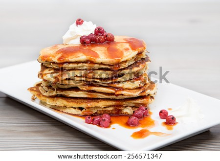 delicious pancake, with sour cream