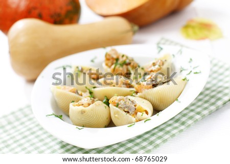 Delicious pasta stuffed wit pumpkin and liver