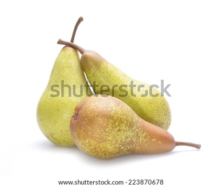 Delicious pears isolated on white background