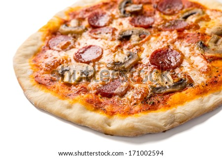 Delicious Pepperoni and Mushroom Pizza  Isolated on White - stock photo