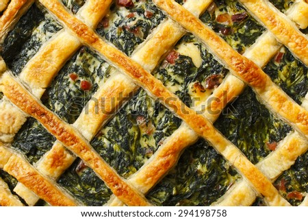 delicious pie  pastry with spinach, ham and bechamel sauce - stock photo