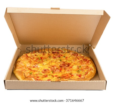 Delicious pizza in box