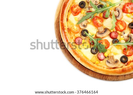 Delicious pizza, isolated on white