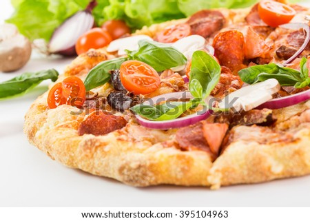 delicious pizza on a white background