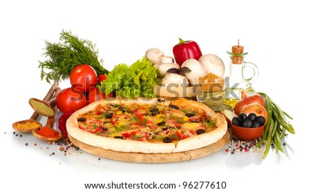 delicious pizza on wooden board, vegetables, spices and oil isolated on white - stock photo