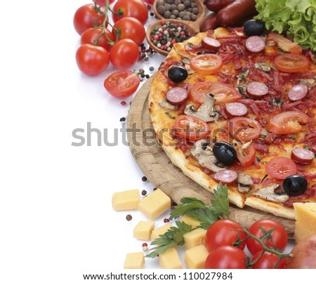delicious pizza, vegetables and salami isolated on white - stock photo