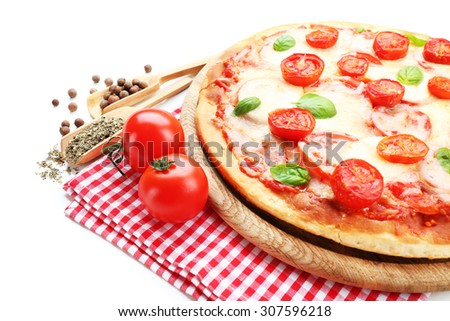 Delicious pizza with cheese and cherry tomatoes isolated on white - stock photo