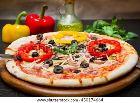 Delicious Pizza with Fresh pepper and olives - stock photo