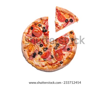 Delicious pizza with ham, tomatoes, and olives with a slice removed, isolated on white background  - stock photo