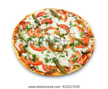 Delicious pizza with mushrooms and asparagus - thin pastry crust isolated at white background. Italian food. Top view - stock photo