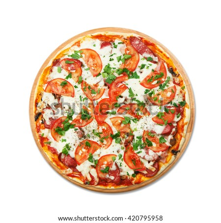 Delicious pizza with mushrooms and smoked sausages - thin pastry crust at round wooden desk, isolated at white background. Italian food,Top view. - stock photo