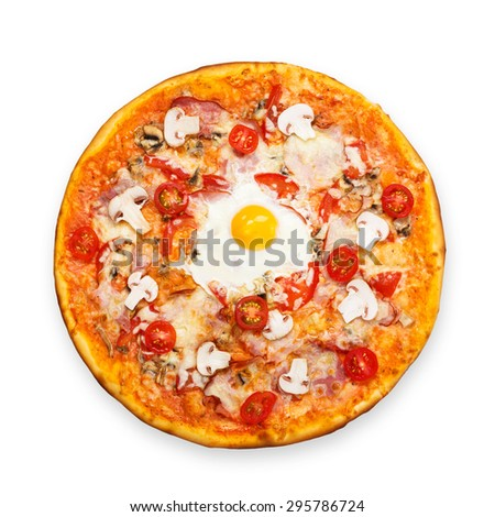Delicious pizza with mushrooms, bacon, cherry tomatoes and egg - thin pastry crust at white background above view - stock photo