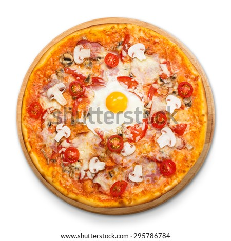 Delicious pizza with mushrooms, bacon, cherry tomatoes and egg - thin pastry crust at white background on wooden desk above view - stock photo