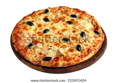 Delicious pizza with olives, shrimp, seafood on wooden stand isolated on white