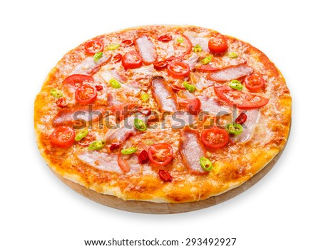 Delicious pizza with red and green hot chili peppers, bacon and cherry tomatoes - thin pastry crust at white background on wooden desk