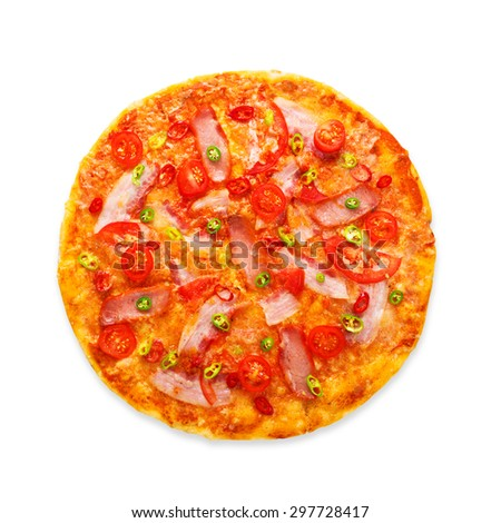 Delicious pizza with red and green hot chili peppers, bacon and cherry tomatoes - thin pastry crust at white background, above view