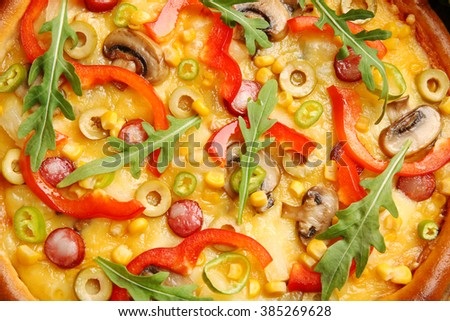 Delicious pizza with vegetables, close-up - stock photo