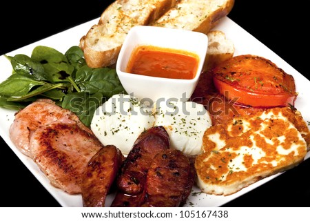 delicious plate of freshly made greek food - stock photo