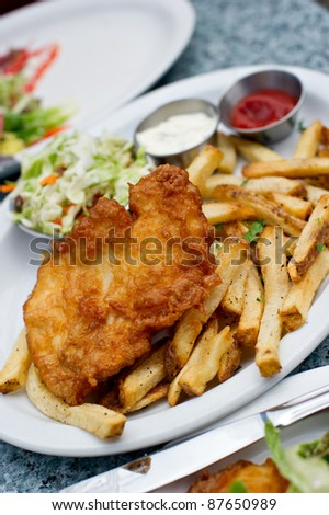 Delicious plate of Halibut Fish and Chips.