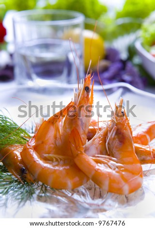 Delicious plate of prawns - stock photo