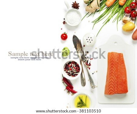 Delicious portion of fresh salmon fillet with aromatic herbs, spices and vegetables - healthy food, diet or cooking concept. Top view. - stock photo