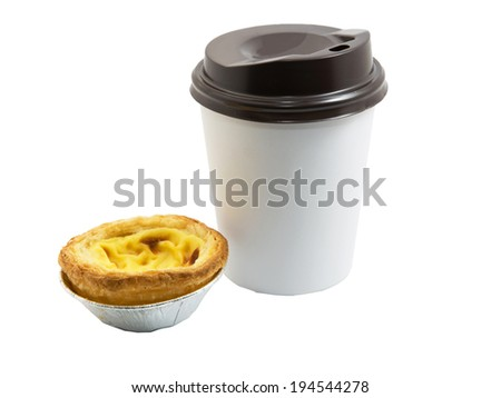 Delicious portuguese egg tart and paper cup of coffee on white background - stock photo