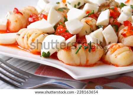 Delicious potato gnocchi with mozzarella and tomato sauce on a plate macro. horizontal   - stock photo