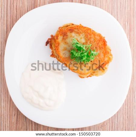 Delicious potato pancakes - stock photo