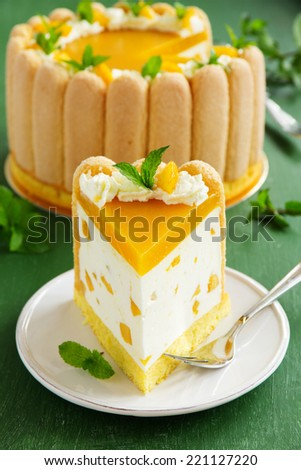"Delicious pound cake ""Charlotte"" with mango and peaches."