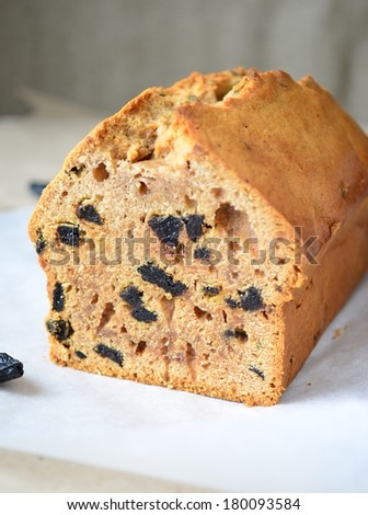 Delicious prune cake on baking paper