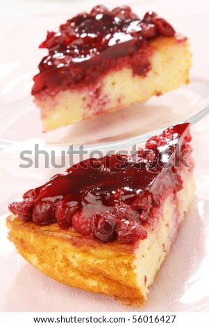 Delicious Puffed rice cake with cherry