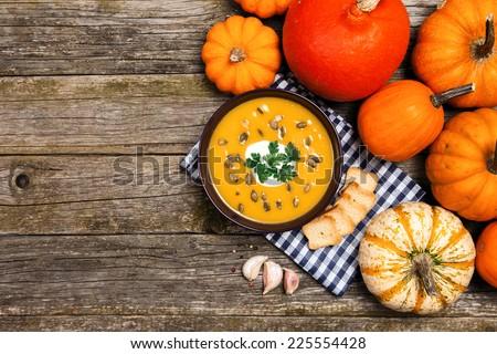 Delicious pumpkin cream soup - stock photo